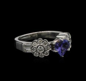 0.93ct Tanzanite And Diamond Ring - 18kt White Gold