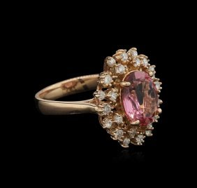 3.06ct Pink Tourmaline And Diamond Ring - 14kt Rose