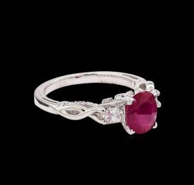 1.27ct Ruby And Diamond Ring - 14kt White Gold