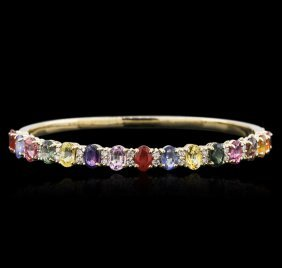 14kt Yellow Gold 10.15ctw Multicolor Sapphire And