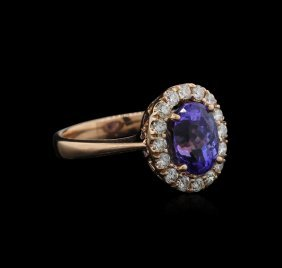 3.33ct Tanzanite And Diamond Ring - 14kt Rose Gold