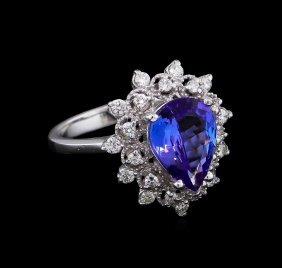 2.58ct Tanzanite And Diamond Ring - 14kt White Gold