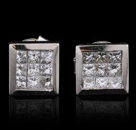 14kt White Gold 0.73ctw Princess Diamond Earrings