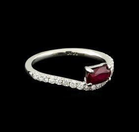 0.83ct Ruby And Diamond Ring - 14kt White Gold