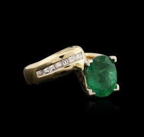 18kt Yellow Gold 1.85ct Emerald And Diamond Ring