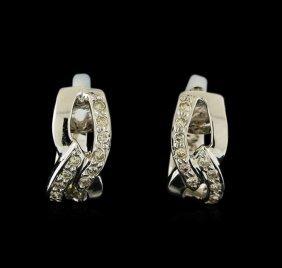 0.13ctw Diamond Earrings - 18kt White Gold