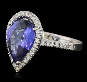 14kt White Gold 5.93ct Tanzanite And Diamond Ring