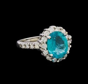 2.52ct Apatite And Diamond Ring - 14kt White Gold