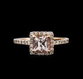 1.00ct Morganite And Diamond Ring - 14kt Rose Gold