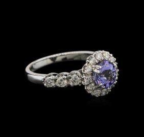 1.33ct Tanzanite And Diamond Ring - 14kt White Gold