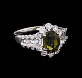 Gia Cert 2.05ct Alexandrite And Diamond Ring - 18kt