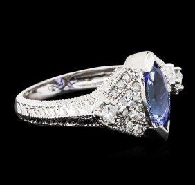 14kt White Gold 1.04ct Tanzanite And Diamond Ring