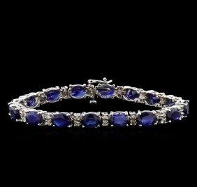 23.22ctw Blue Sapphire And Diamond Bracelet - 14kt