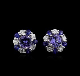 2.30ctw Multi Gemstone And Diamond Earrings - 14kt