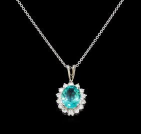 2.52ct Apatite And Diamond Pendant With Chain - 14kt