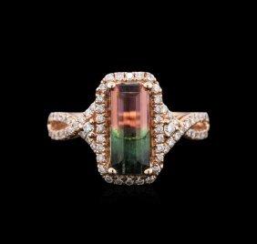 2.04ct Bi-color Tourmaline And Diamond Ring - 14kt Rose