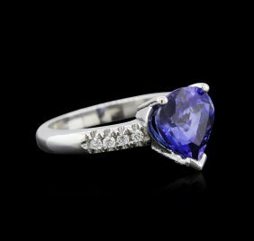 2.82ct Tanzanite And Diamond Ring - 14kt White Gold