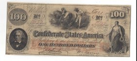 $100 Confederate States Of America Bank Note
