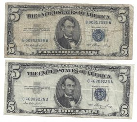 1953 $5 Silver Certificate Currency Lot Of 2