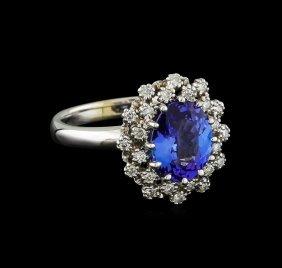 2.3ct Tanzanite And Diamond Ring - 14kt White Gold
