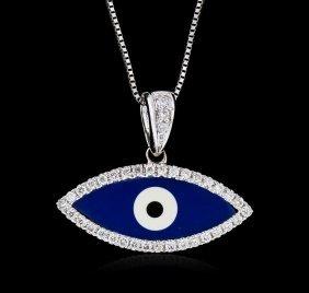 18kt White Gold 0.20ctw Diamond Evil Eye Pendant With