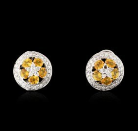 18kt White Gold 1.90ctw Yellow Sapphire And Diamond
