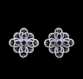 3.53ctw Blue Sapphire And Diamond Earrings - 14kt White