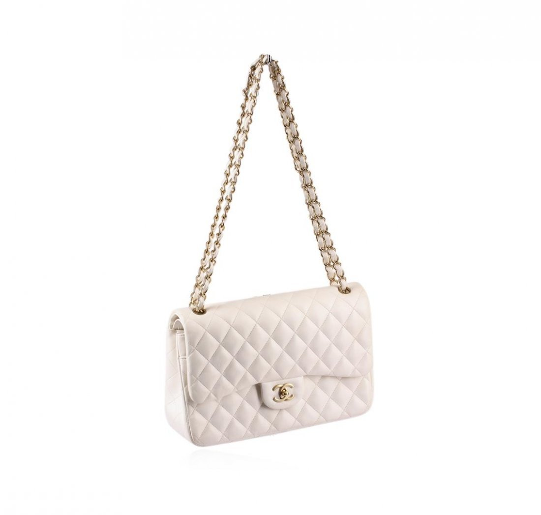 100% Authentic Chanel Flap Bag Jumbo White Lambskin - 2