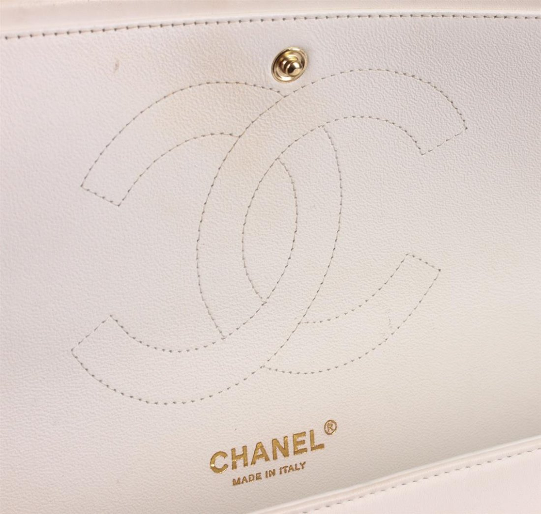 100% Authentic Chanel Flap Bag Jumbo White Lambskin - 6