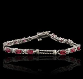 14kt White Gold 3.82ctw Ruby And Diamond Bracelet