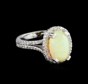 2.43ct Opal And Diamond Ring - 14kt White Gold