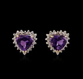 2.20ctw Amethyst And Diamond Earrings - 14kt Yellow