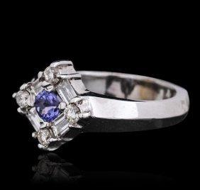 14kt White Gold 0.33ct Tanzanite And Diamond Ring