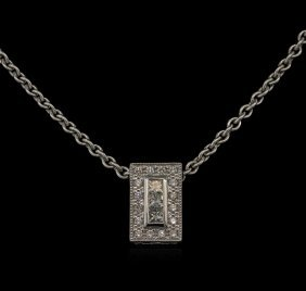 0.41ctw Diamond Pendant With Chain - 18kt White Gold
