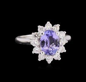 2.07ct Tanzanite And Diamond Ring - 14kt White Gold