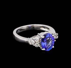 2.06ct Tanzanite And Diamond Ring - 14kt White Gold