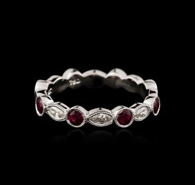 18kt White Gold 0.34ctw Ruby And Diamond Ring