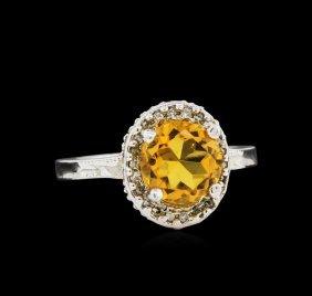 14kt White Gold 2.35ct Citrine And Diamond Ring