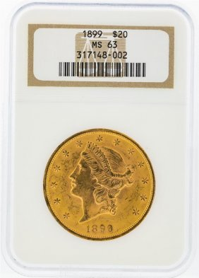 1899 Ngc Ms63 $20 Liberty Head Double Eagle Gold Coin