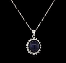 13.12ct Sapphire And Diamond Pendant - 14kt White Gold
