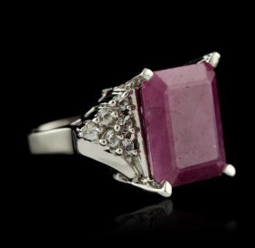Silver 15.72ct Ruby And White Topaz Ring