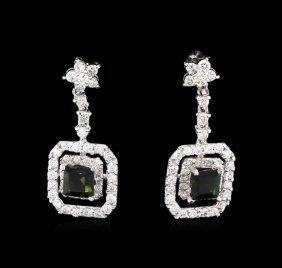 0.85ctw Green Tourmaline And Diamond Earrings - 14kt