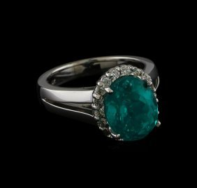 5.12ct Apatite And Diamond Ring - 14kt White Gold