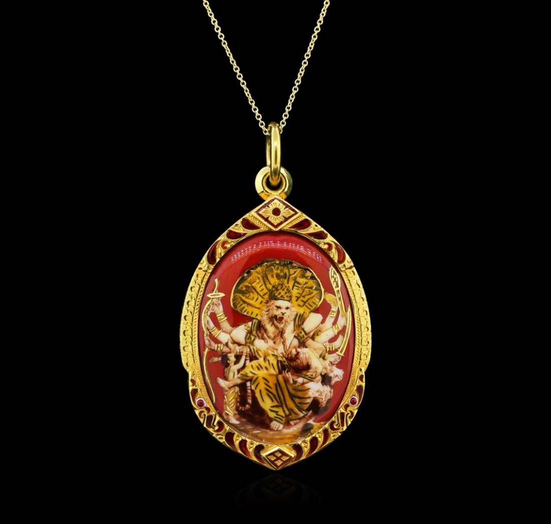 22KT Yellow Gold Indian Theme Pendant With Chain