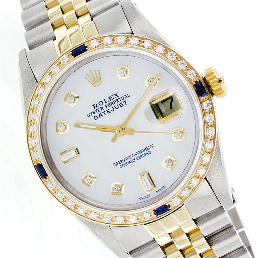 Rolex Two-Tone Diamond and Sapphire DateJust Men's