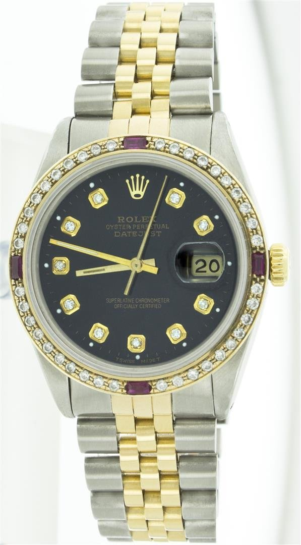 Rolex Two-Tone 1.00 ctw Diamond and Ruby DateJust Men's