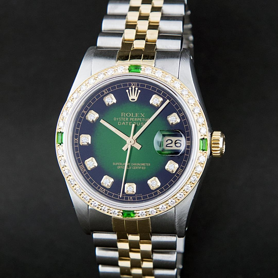 Rolex Two-Tone Green Diamond and Emerald DateJust Men's