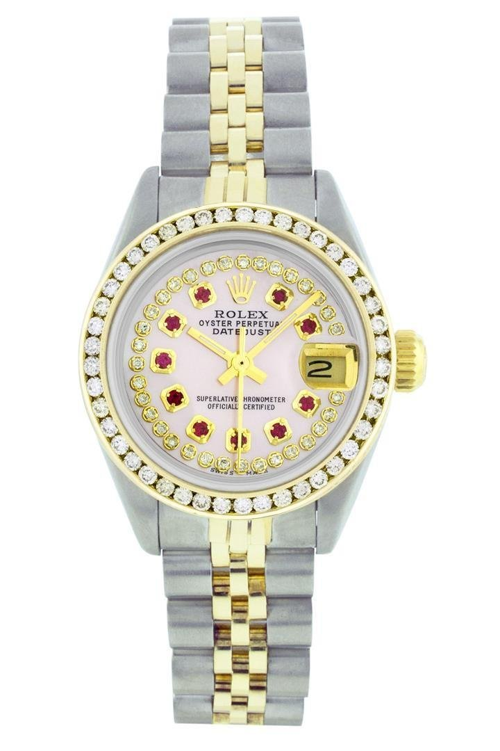 Rolex Two-Tone 1.00 ctw Diamond and Ruby DateJust