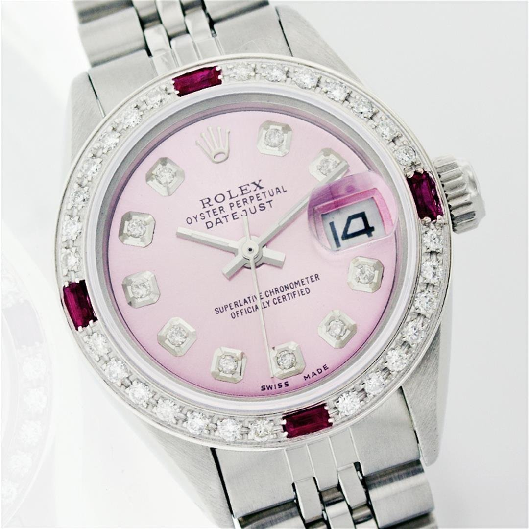 Rolex Stainless Steel Diamond And Ruby DateJust Ladies