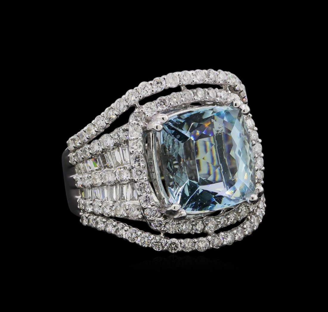 5.42 ctw Aquamarine and Diamond Ring - 18KT White Gold